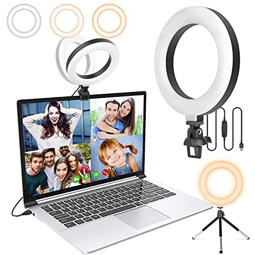 Anillo de Luz Videoconferencia, 6' Anillo de Video Luz con Trípode y Clip para Laptops, Webcam, Cámaras y Teléfonos Móviles, Ajustable en 360 °, 3 Modos de IluminacióN y 10 Brillos