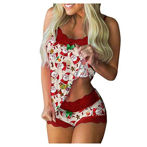 Weihnachten Pyjama Schlafanzug Damen Zweiteilige Weihnachts Nachtwäsche Hausanzug...