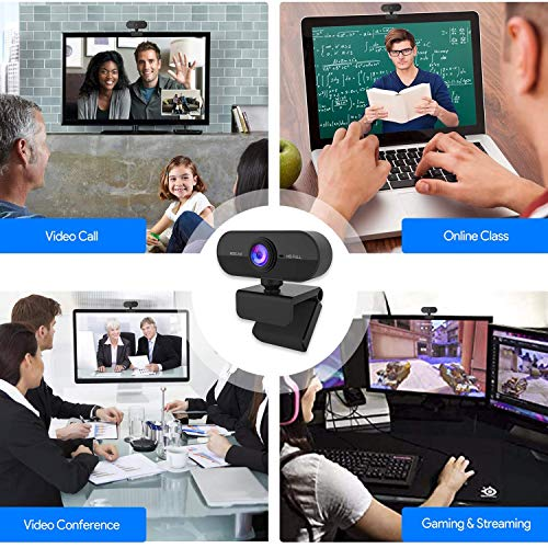 Aode 1080P Webcam Full HD mit Dual Stereo-Mikrofon Belichtungs Korrektur, USB Webcam für PC Plug & Play für Windows, Mac Linux, für Konferenz, Streaming, Online Kurs, Videochat und Aufnahme, etc