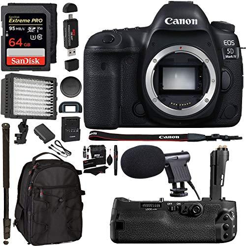 Canon EOS 5D Mark IV Full Frame Digital SLR Camera with EF 24-105mm f/4L is II USM Lens Kit, Sandisk 64GB, Polaroid 160 LED Video Light, Microphone, Backpack and Accessory Bundle