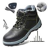 HOAPL High Top Zapatos de Seguridad con Punta de Acero para Hombre, Forro térmico y Transpirable Espesar Fur, Zapatos de Trabajo de Seguridad Protectora,45