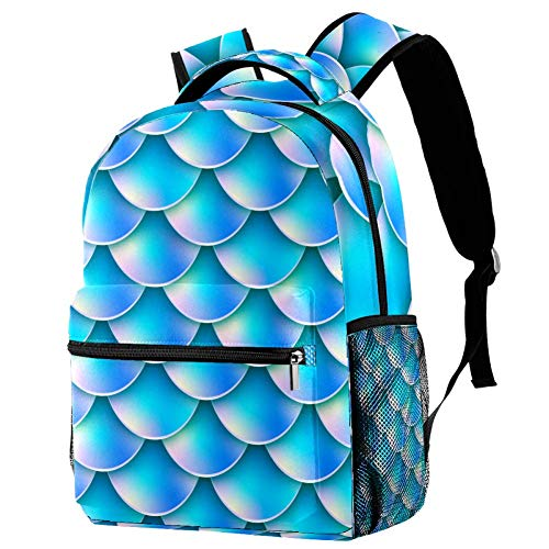 Backpack for Kids Sequin Blue Mermaid Scales 05 Backpack Print for School/Travel 29.4x20x40cm