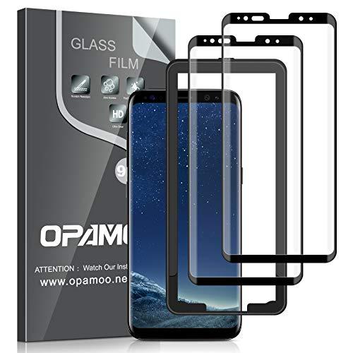 opamoo Vetro Temperato per Samsung Galaxy S8,[2 Pezzi] Copertura Completa Pellicola Protettiva Samsung Galaxy S8 con Cornice di Allineament 9H Durezza Senza Bolle Protezione Schermo per Samsung S8