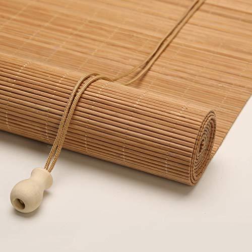 LXLA Serie de Gancho Persianas Enrollables para Interiores, Sombrilla con Cordón de Estilo Japonés con Accesorios, Cubierta de Ventanas de Madera para Cocina/Balcón/Terraza Acristalada, 70% de Pro