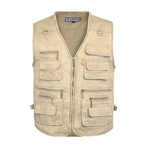 BELLOO Herren Outdoor Baumwolle Weste mit Vielen Taschen für Jagd,Khaki, XXXX-Large