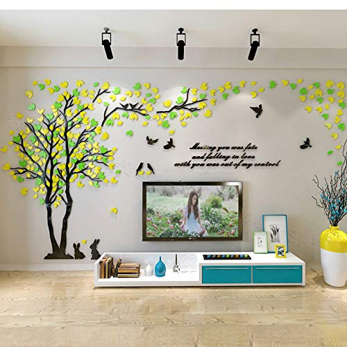 KINBEDY Acrylic 3D Tree Wall Stickers Wall Decal Easy to Install &Apply DIY Decor Sticker Home Art Decor. Tree with Yellow and Green Leaves, Left XL.