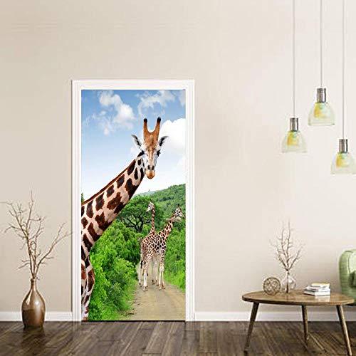 BXZGDJY 3D-deursticker, deurafbeelding, zelfklevend, deurposters, zelfklevend, 3D-deur-raam-behang, verwijderbare deur-decoratie-plakaat muurstickers voor doe-het-zelvers, deurdecoratie 77X200CM