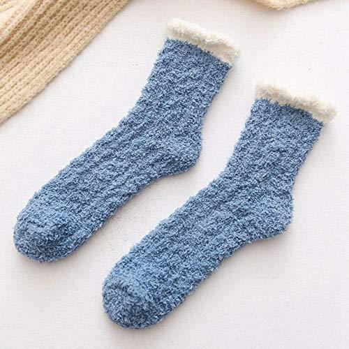 Señoras Mujeres Invierno cálido Suave Mullido Cama Calcetines casa Piso Zapatilla Coral Terciopelo calcetín Botas de Invierno-a1-One Size