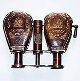 Ganga Nautical Vintage-Ottone Antico 1917 Ottone Telescopio Viaggio Binocolo Monoculare