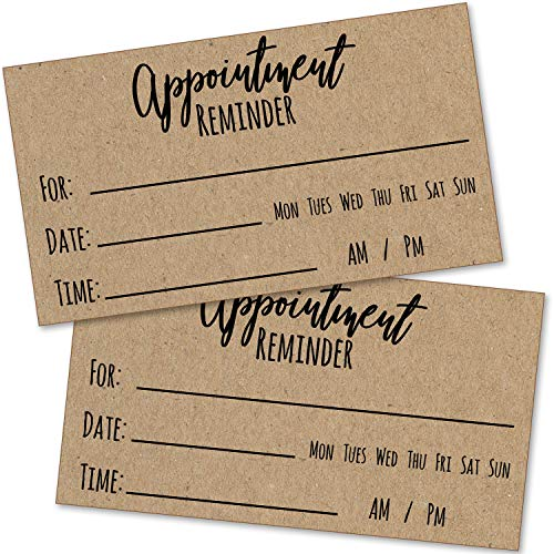 200 Appointment Reminder Cards - Kraft Style for Business, Hair Salon, Dental Office, Massage Therapist, Grooming, Hairdresser, Medical Doctors and More - Bulk Pack of Your Next Appointment Cards …
