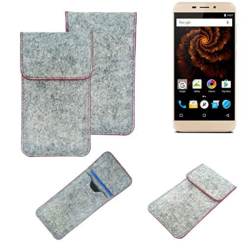K-S-Trade® Handy Schutz Hülle Für Allview X4 Soul Mini Schutzhülle Handyhülle Filztasche Pouch Tasche Hülle Sleeve Filzhülle Hellgrau Roter Rand