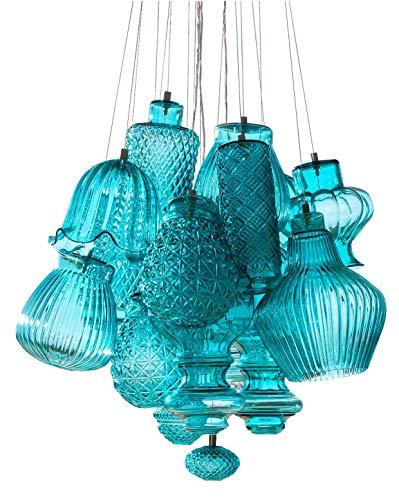 Ceraunavolta - Lampadario a sospensione in vetro trasparente, realizzato a mano in Italia, moderno, classico, dimmerabile, E27, Vetro, Blu Tiffany., Durchmesser 55 cm, E27