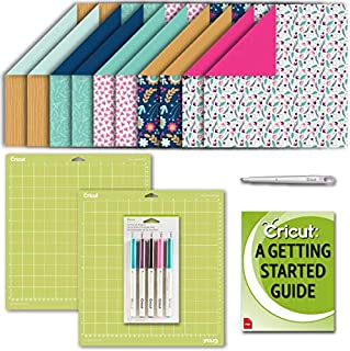 Cricut Deluxe Paper Bundle with Patterned Sheets, Scoring Stylus, Gel Pen Set and (2) GripMat Pack