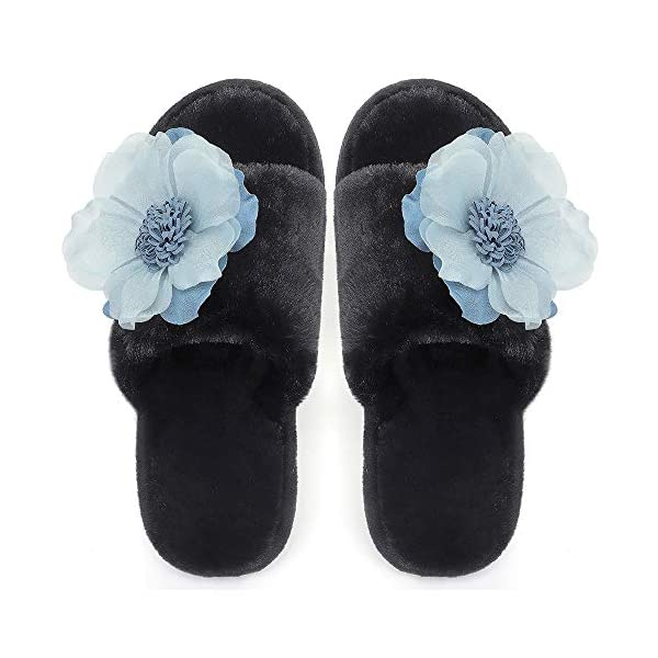Fur Slippers for Women, Fuzzy Fluffy Furry Memory Foam Open Toe House Shoes, Flat Slides for Bedroom Spa Indoor Outdoor
