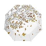 Mr.Lucien Árboles de otoño compacto paraguas hojas de arce automático de viaje paraguas plegable a prueba de viento automático abrir/cerrar para...