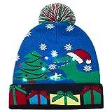 LED Light Up Hat Beanie Knit Cap Bufanda Set Luces de Colores LED Christmas Christmas Hat Gorro con Calentador de Cuello elástico, suéter de Invierno Unisex Ugly Holiday Party Beanie Cap Bufanda