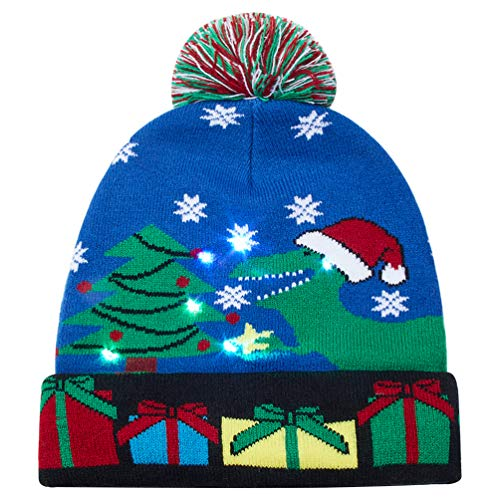 Goodstoworld Light Up Ugly Christmas Beanie Ski Knitted Tree Hats Family Men Women Kids Knit Holiday Led Blue Flash Caps Bottoms Up Xmas Party Knitted Sweater Beanie