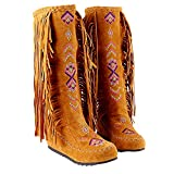 Inornever Knee High Boots for Women Moccasins Embroidered Fringed Booties Winter Flats Suede Long Snow Boots Yellow 9 B (M) US
