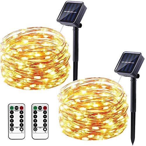 Baalaa 2 luces de tira de energía solar al aire libre de alambre de cobre luces de cortina impermeable jardín luces