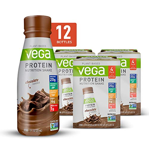 Vega Protein Shakes Ready to Drink, Chocolate - Plant Based Vegan Nutrition Shake with Veggies, Greens, Vitamins & Minerals, Gluten Free, Dairy Free, Soy Free, Vegetarian, Non GMO, 11 Fl Oz (12 Count)