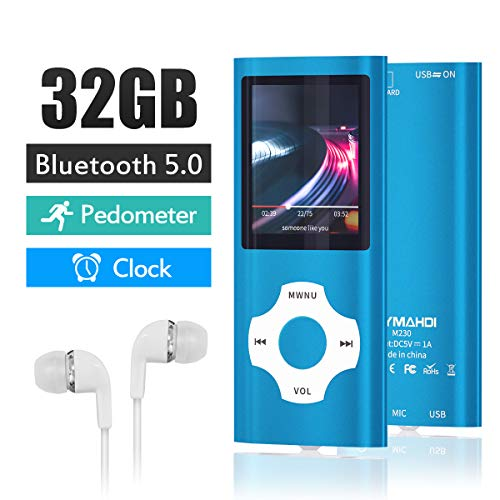 MYMAHDI Bluetooth 5.0 MP3 / MP4 Player with 32GB Memory Card, 1.8'' LCD Screen, Support Up to 128GB, Pedometer/Video/Voice Record/FM Radio/E-Book Reader/Photo Viewer Dark Blue