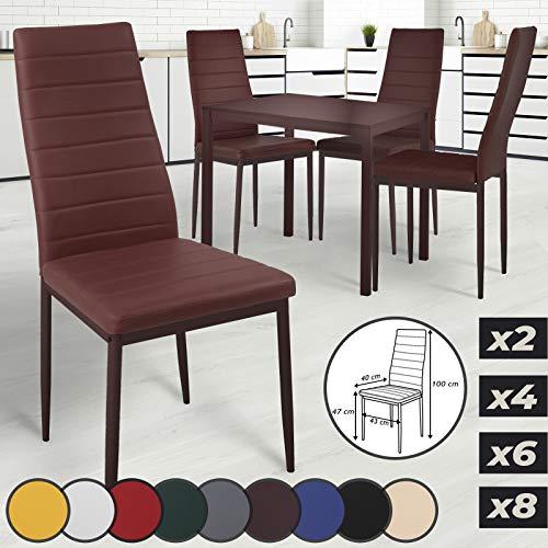 MIADOMODO - Juego de 2 sillas de Comedor de 4 6 8 Piezas de Piel sintética, Metal, Respaldo Alto, Color a Elegir (Beige, Azul, marrón, Amarillo, Verde, Gris, Rojo, Negro, Blanco)