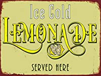 アイスコールドレモネードブリキサインヴィンテージノベルティ面白い鉄の絵の金属板