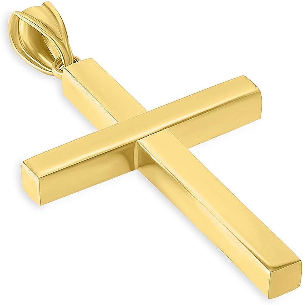 14k Yellow Gold Simple Religious Cross Pendant