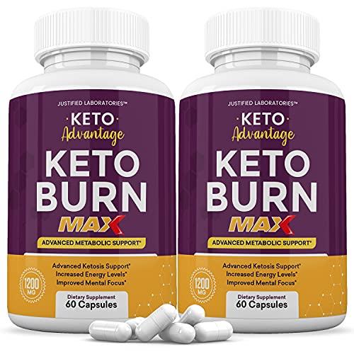 (2 Pack) Keto Advantage Keto Burn Max 1200MG Keto Pills Includes Apple Cider Vinegar goBHB Exogenous Ketones Advanced Ketogenic Supplement Ketosis Support for Men Women 120 Capsules