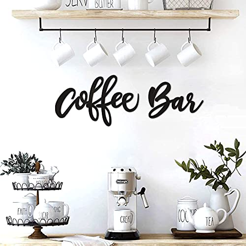 Huray Rayho Party Coffee Bar Wall Decor Kitchen Coffee Wooden Sign Coffee Station Letter Sign Coffee Wood Word Art Farmhouse Kitchen Wall Decoration for Home, Cafe, Coffee Lover Gifts(Black)