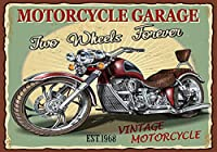 アンティークガレージバイクロゴクラシックバイクホームウォール装飾メタルプレート12「X8」インチ