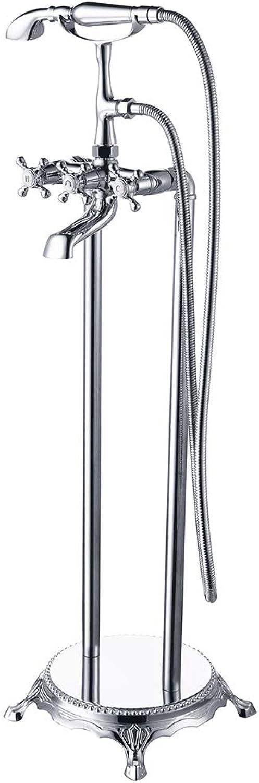 Verchromung Poliert Badewanne Boden Stehen Wasserhahn Mixer Dual Handle Wasserfall Auslauf Badewanne Wasserhahn mit Messing Handbrause G1   2''12mm(7 kg),Chrome