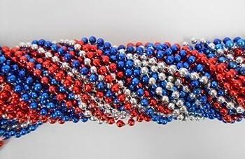 33 inch 7mm Round Metallic Red Blue and Silver Mardi Gras Beads - 6 Dozen 72 necklaces