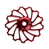 VORCOOL Rueda de Bicicleta 13T Desviador Trasero Rodamiento de cerámica Aleación de Aluminio CNC MTB Desplazador Trasero Polea Rueda de guía para Rosd Bike Moutian Bike (Rojo)