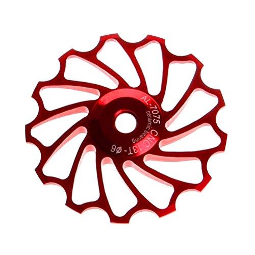 VORCOOL 13T Fahrrad Rad Schaltwerk Keramiklager CNC Aluminiumlegierung MTB Schaltwerk Riemenscheibe Führungsrad für Rosd Bike Moutian Bike (Rot)