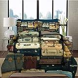 Funda nórdica de Impresa en 3D Funda Nórdica y Funda de Almohada Maleta de Seda de la máquina Mapa de Viaje de Cuero Antiguo Nostalgia Single(135X200 Cm), 2 Piece Set 1 Piece Quilt Cover + 1 Pie