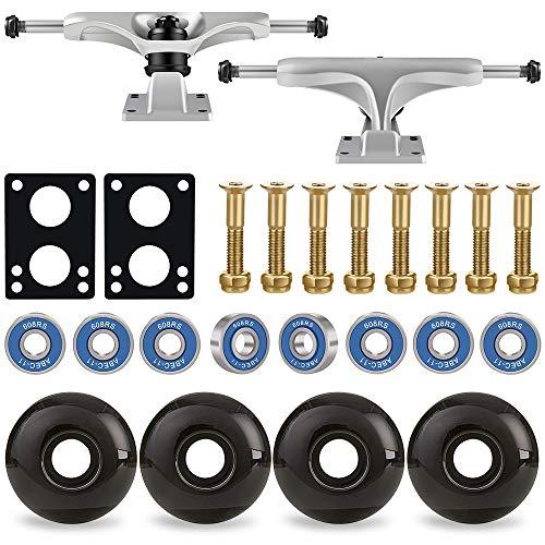 Keecaan 52mm Skateboard Wheels Set, 5.0 Skateboard Trucks, ABEC-11 Skateboard Bearings, 6mm Rubber Skateboard Riser Pads, Skateboard Hardware 1  (Sliver Truck & Black Wheel)