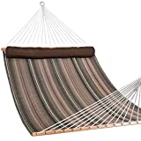 Lazy Daze Hammocks Quilted Fabric Double Hammock with Long Pillow, Spreader Bar Swing for Two Person, Brown and Green Stripe