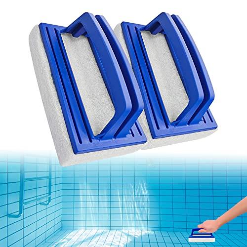 2 Stück Pool Schwamm Bürsten,Pool Reinigungsbürste, Algenbürste Reinigungsbürste Handschrubber Geeignet zum Reinigen von Schmutz und Moos, mit Griff Teich Bürste Reinigungszubehör