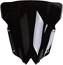 XFMT PMMA Black Double Bubble Windshield Screen Compatible with Yamaha YZF R6 YZF-R6 2008-2016