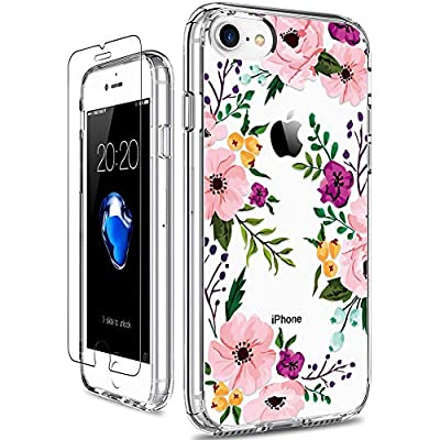 GiiKa iPhone 8 Case, iPhone 7 Case with Screen Protector, Clear Heavy Duty Protective Case Floral Girls Women Hard PC Back Case with Slim TPU Bumper Cover Phone Case for iPhone 8, Small Flowers