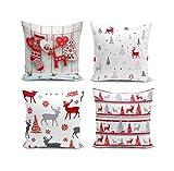 BAS Set de 4 - Decorativo, Moda, Colorido, Impresión Digital 3D Cuadrado Fundas de Cojín para sofá, silla, sofá, cocina, decoración del hogar 43x43 cm (rojo)