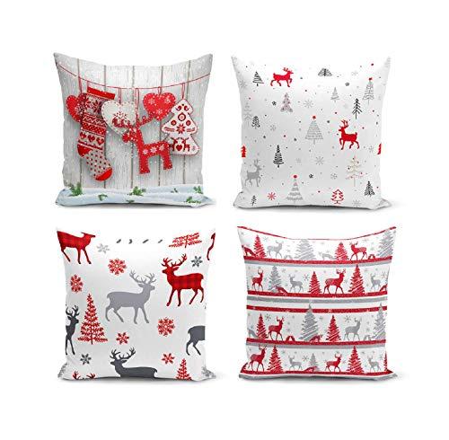 BAS Set di 4 federe per cuscini quadrate per divano, sedia, divano, cucina, decorazione per la casa, 43 x 43 cm (rosso)