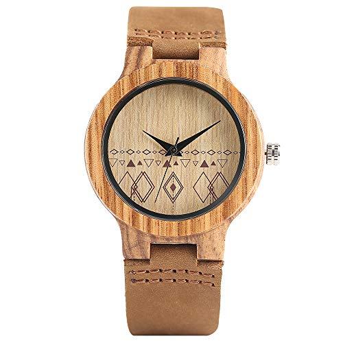 Reloj de Pulsera Minimalista de Madera, Estilo Bohemio Creativo de Cuarzo, Pulsera de bambú