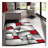 UN AMOUR DE TAPIS - Tapis Salon Moderne Design Poils Ras - Grand Tapis Salon Rectangulaire - Tapis Chambre Turquoise - Tapis Salon Rouge Gris 120x170 cm
