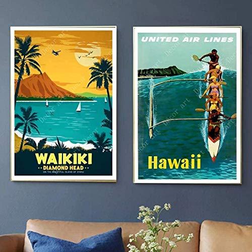 YaShengZhuangShi Arte de Lienzo 2 Piezas 60x80cm sin Marco Surf de Verano en Waikiki...