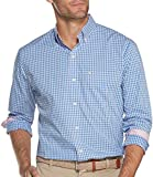 IZOD Men's Button Down Long Sleeve Stretch Performance Gingham Shirt, Pink Lady, 2X-Large