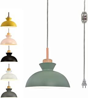 STGLIGHTING Wooden Socket Pendant Light with 15ft Plug-in UL On/Off Dimmer Switch Cord Macaron Green Lampshade Light Fixtures Nordic Minimalist Loft Style Lamps for Dining Room Bulbs Not Included