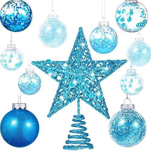 Gejoy 24 Piezas 2.36 Pulgadas Bola de Navidad de Plástico Irrompible Adornos Bolas de Áárbol con una Estrella de Árbol para Navidad Año Nuevo Presente Boda Inicio Decoración de Fiesta (Azul)