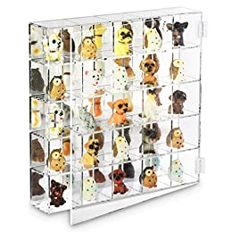 WALL RACK HOLDER - A clear and durable acrylic case 25 separate for displaying figurines, dolls, collections and so on. MIRROR BACKED DISPLAY STAND - With 4 skid stoppers on the corners of the bottom makes the case stand steadily. FEATURES - The door...
